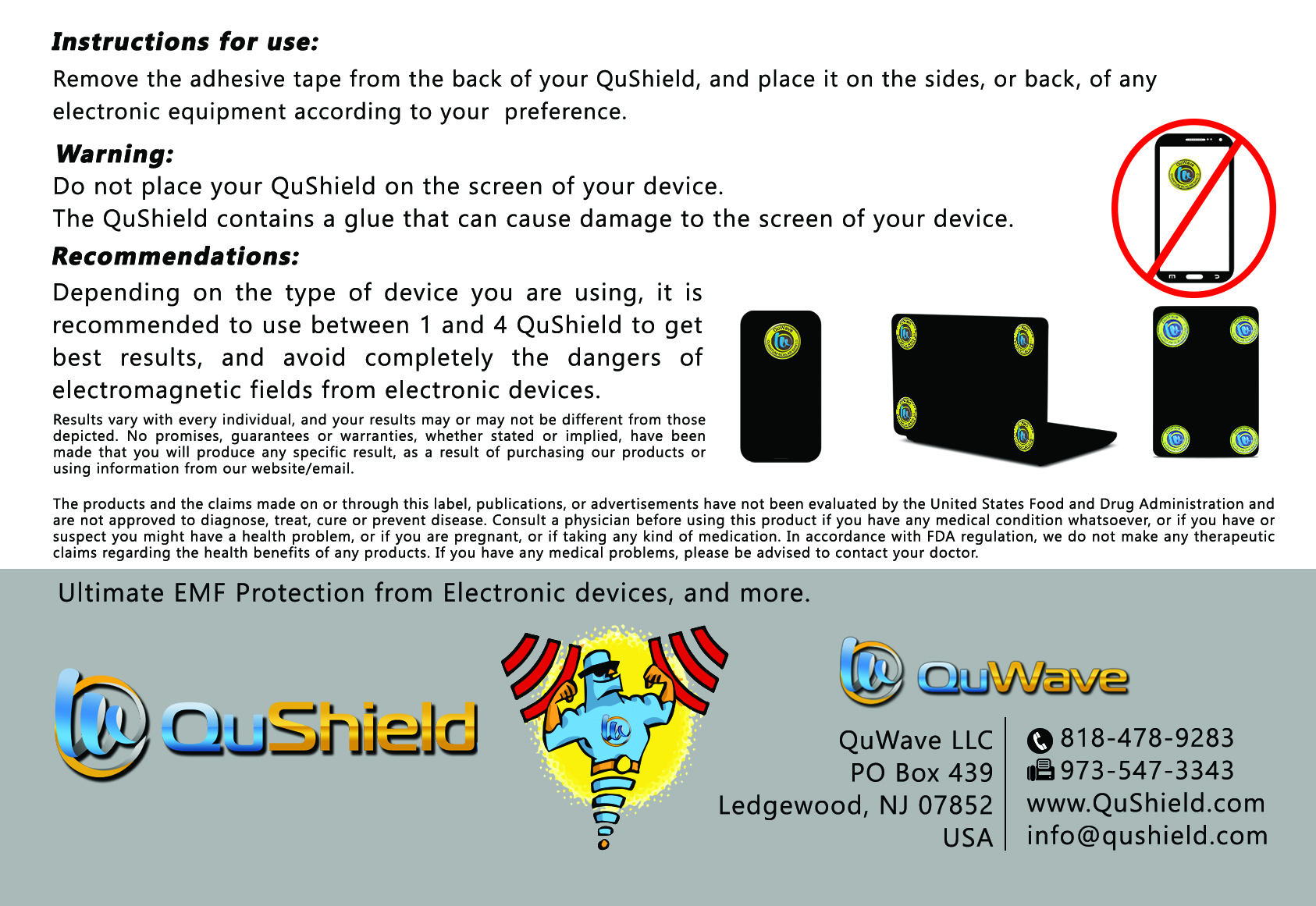 QuShield EMF protection sticker Postcard Back