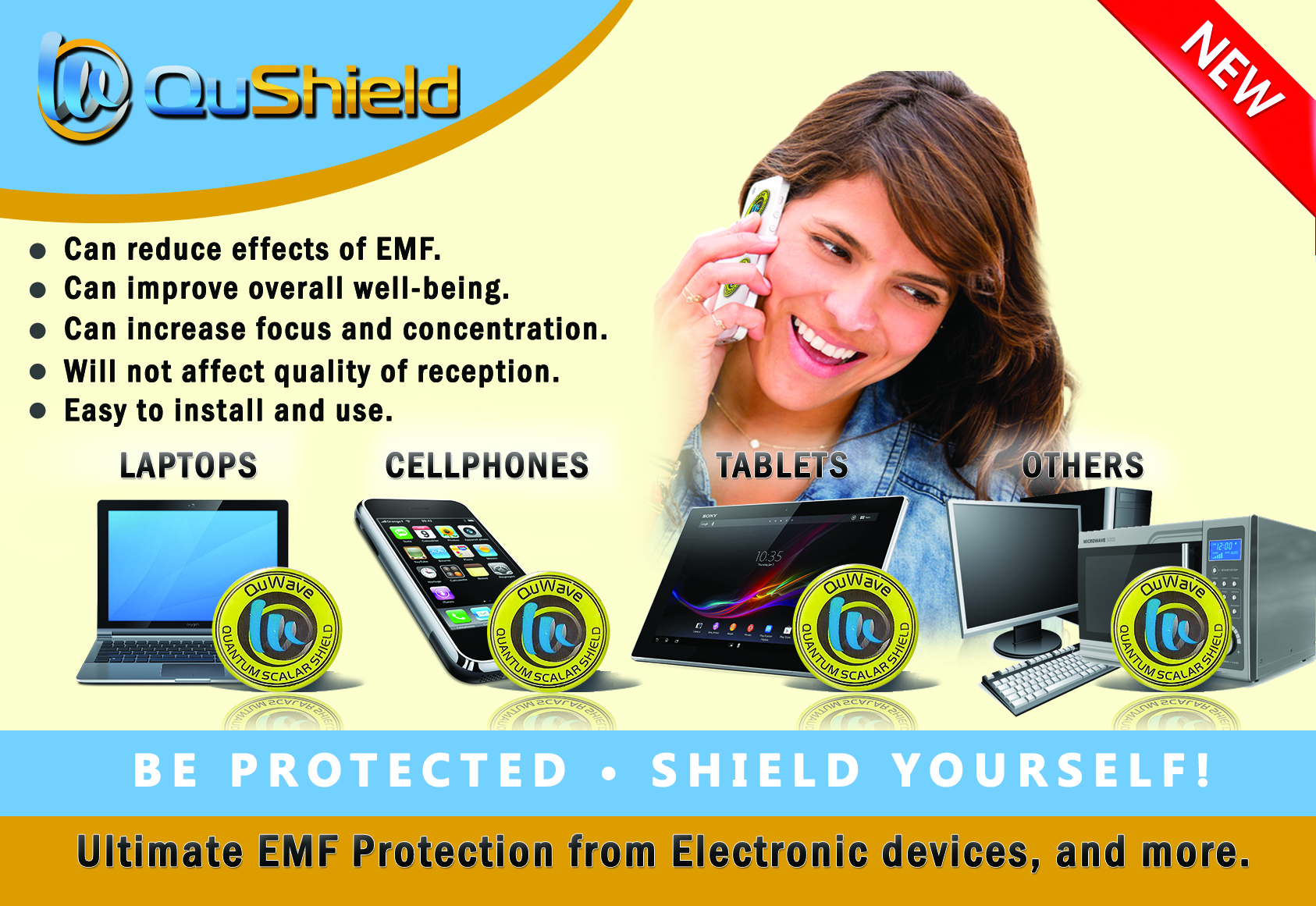 QuShield EMF protection sticker postcard